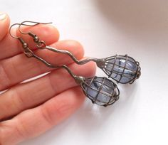 Wire jewelry one of a kind gray beads earrings by ArtemisFantasy, $25.00