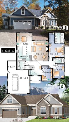 U shape Ranch house plan, garage, master suite, large kitchen with island,. U shape Ranch ho Sims House Plans, Ranch House Plans, Craftsman House Plans, New House Plans, Dream House Plans, Small House Plans, House Floor Plans, House Plans With Garage, U Shaped House Plans