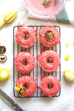 This easy pink lemonade donuts recipe is always a crowd favorite and a flavor combination that the kids will definitely love. Candied Lemon Peel, Candied Lemons, Funnel Cakes, Sorbet, Fun Desserts, Delicious Desserts, Delicious Donuts, Dessert Recipes, Biscotti