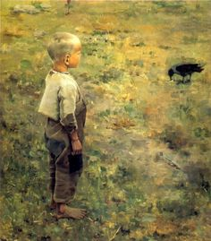 Akseli Gallen-Kallela Boy With a Crow - 1884 (Ateneum Art Museum, Helsinki, Finland) Oil on canvas. Crow Painting, Figure Painting, Google Art Project, Scandinavian Art, Art Database, Expositions, Oil Painting Reproductions, Art Google, Art History