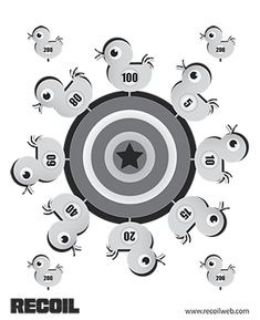 Print and shoot 10 exciting targets from Recoil's Target Pack. Paper Shooting Targets, Paper Targets, Shooting Sports, Shooting Range, Pistol Targets, Archery Targets, Archery Games, Range Targets, Rubber Band Gun