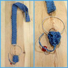 Collar ganchillo azul turquesa