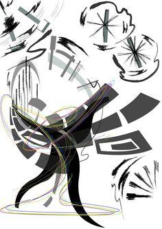 리듬체조 선수의 곤봉 부분의 운직임을 패턴처럼 사용하고 주제부는 곡선이 많아보이는 사람의 움직임을 표현하였다.