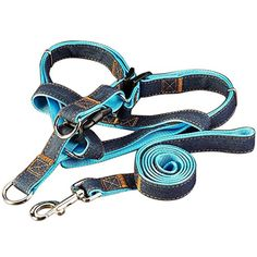 LIANGSM Dog Leash Harness, Adjustable and Heavy Duty Denim Dog Leash Collar for Training Walking Running, Rescue No-Pull Harness for Large/Medium/Small Dog ** Click image for more details. (This is an affiliate link) #CollarsHarnessesLeashes