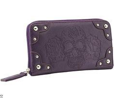 """Rock Rebel presents GG Rose day of the dead full zip wallet with embossed sugar skulls on front and back with round metal studs. Features clear ID slot, multiple card pockets, billfold and change pocket. Measurements: 7.5"""" long by 4"""" tall and 1"""" width Materials: Faux leather outer, Satin inner"""