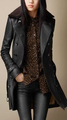 Black Midlength Shearling Collar Leather Trench Coat