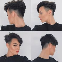 Summer short haircut is a must trend for the next 3 months. The oppressive summer heat can sometimes provide the last spur so that you need to turn the flowing mane. Especially into the Bob or Pixie you've been looking for so long. Edgy Pixie Hairstyles, Short Pixie Haircuts, Undercut Hairstyles, Pixie Cut Shaved Sides, Shaved Side Haircut, Short Haircut Styles, Corte Y Color, Edgy Hair, Short Hair Cuts For Women