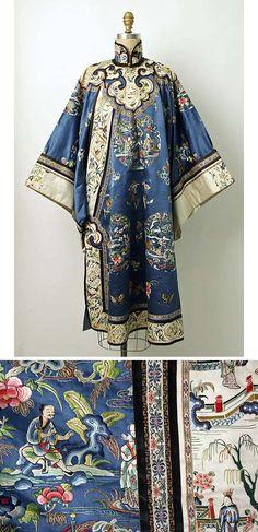 Chinese robe, late 19th century, silk, metal