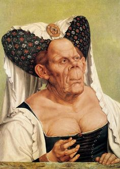 """Quentin Massys, 'The Ugly Duchess'. This young lady is sometimes called The Ugly Duchess, mainly because a nasty man called Sir John Tenniel based his illustrations of Duchess in Alice in Wonderland on her. Massys based the original on his friend Erasmus's book In Praise of Folly, in which he describes mad old women who """"cannot tear themselves away from their mirrors"""" and """"do not hesitate to exhibit their repulsive withered breasts"""". As such Massys presents himself as a staunch critic of…"""
