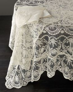 Chantilly Lace Tablecloth, Runner, Placemat, & Napkin by VP DESIGNS LTD at Neiman Marcus.