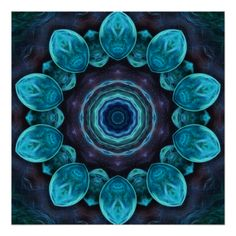 Blue Green Abstract Tile 297 Poster