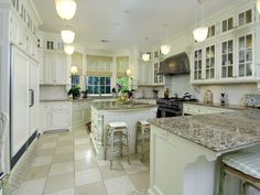 Kitchen, Kitchen Furnitures Enchanting White Granite Kitchen Countertop  Vintage White Kitchen Cabinet Set Design And Beautiful Kitchen Lighting  Setup Ideas ...