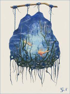 """#Панно_из_шерсти """"Жизнь моря"""". панно из шерсти, панно настенное, мокрое валяние, морской пейзаж, подводный мир, золотые рыбки, #для_интерьера, #декор_стены #Wool_Felt_Wall_Hanging_Life_Of_Sea_Blue_Panel_Underwater_Landscape With Goldfish and Seashells #Ecofriendly_Home_Decor_Living_Room #Wool_Decor"""