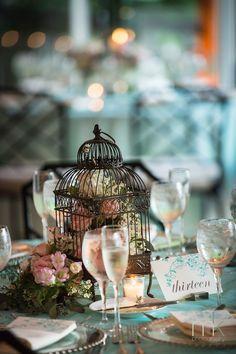 Lovely vintage birdcage centerpiece    MK Photography