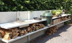 great outdoor cooking space with a Kamado grill