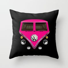 "VW Volkswagen Pink Double Side Decorative cushion Pillow Case 20"", $18.89 #Pillow #PillowCase #PillowCover #CostumPillow #Cushion #CushionCase #PersonalizedPillow #VW #Volkswagen #Capsule #Van #Car #MiniBus #Pink #FullColor"
