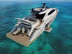 Beautiful yacht on turquise water