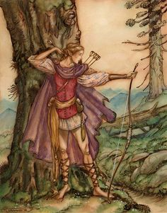 Elven Archer by Tony DiTerlizzi. This is from a Magic card.