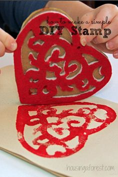 DIY Valentine Stamp ~ simple homemade stamp. Links to lots of unique ways to create your own stamp