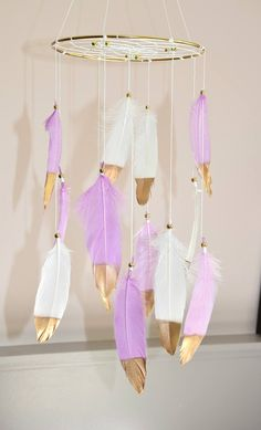 Baby Girl Nursery Decor Baby Mobile Dreamcatcher Feather