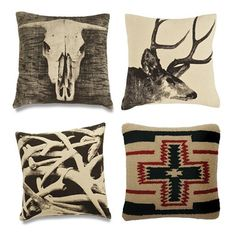 Want these pillows! love the rustic decor.