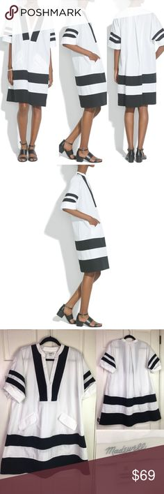 "Madewell Shirtdress White Oversized Poncho Cotton MSRP: $138 Completely sold out!  Size: S (can fit M, depending on desired fit) Color: White/Black Style# A5174  A fresh, modern oversized trapeze shape w/bold inset stripes + front pockets Cooly oversized for that easy fit go-to shirtdress 100% cotton  Excellent hardly used condition; no flaws  Measures flat approx Length: 37"" Shoulder2shoulder: 27"" Chest: 25"" Waist: 27"" Hips: 29""  Offers warmly accepted - If I can't reach your offer, I'll…"