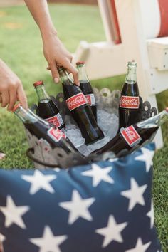 Host a July holiday party with these backyard party ideas! of July party inspiration with Coke Bottles and Star outdoor pillows to decorate outside events! 4th Of July Celebration, Fourth Of July, Summer Bbq, Summer Time, Coca Cola, Happy Birthday America, Home Of The Brave, 4th Of July Decorations, Patriotic Party