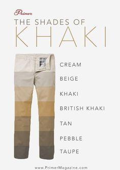 Tonos de color caqui Pantalones - colores de tela de algodón #MensFashion