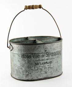 Antique Style Galvanized Tin Silverware Utensil Caddy | eBay