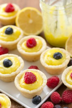 Easy Lemon Tarts: Served in sugar cookie cups, these sweet tarts are a breeze to make. Click through to find more of the best easy and fresh lemon desserts to try this summer. Mini Desserts, Just Desserts, Finger Desserts, French Desserts, Plated Desserts, Healthy Desserts, Lemon Dessert Recipes, Lemon Recipes, Tea Recipes