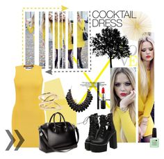 """""""Yellow Cocktail"""" by fanfictionfan ❤ liked on Polyvore featuring T By Alexander Wang, Givenchy, WithChic, Jennifer Fisher, MAC Cosmetics and Tisch New York"""