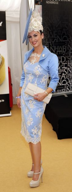 blue hat with lace detail, blue dress with lace detail at the Dubai Duty Free Irish Derby