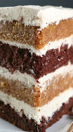 Pumpkin Chocolate Layer Cake with Whipped Brown Sugar Frosting Recipe Spice cake, Pumpkins , Pumpkin Spice Cake with Brown Sugar Cream Ch. Fall Desserts, Just Desserts, Delicious Desserts, Thanksgiving Desserts, Baking Recipes, Cake Recipes, Dessert Recipes, Brown Sugar Frosting, Chocolate Frosting