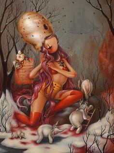 The Strange Artwork of Brandi Milne Art Pop, Arte Lowbrow, Pin Up, Candy Art, Weird Art, Creepy Art, Silhouette, Art And Illustration, Surreal Art