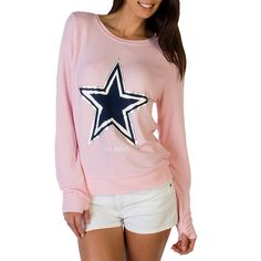 ON SALE: 50% OFF - Dallas Cowboys Peace Love World Pastel Pink Crew at shop.dallascowboys.com. Limited time only!