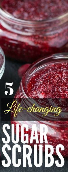 Homemade Sugar Scrubs that will completely change your beauty regime. These sugar scrub recipes helped me get rid off my acne! Best thing I've ever found for great skin.