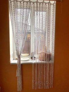 This product can be used as a wall hanging, or as a curtain or partition in the room, or as a door divider. Macrame products bring a special atmosphere of coziness and style to any interior. Believe me, no one will remain indifferent. Cotton Curtains, Sheer Curtains, Panel Curtains, Macrame Curtain, Beaded Curtains, Door Dividers, Bohemian Curtains, Curtain Holder, Large Macrame Wall Hanging