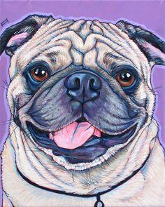 "Henley the Pug Dog Custom Pet Portrait Painting in Acrylic Paint on 8"" x 10""…"