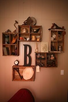 Crate shelving (put K cork monogram in middle)