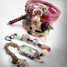 Tribal gypsy bangles in pink and green with quartz by quisnam, $60.00