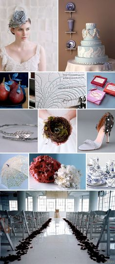 Serene and organic blue, gray and red wedding color ideas and inspiration for a rainy day wedding.