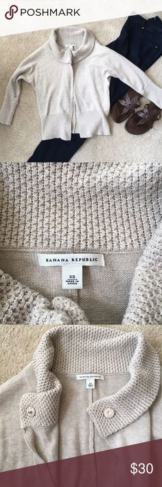 09fc743607b75 Banana Republic Cardigan This light tan cardigan is perfect for layering!  Lovely knit detail around the neck and 1 single button at the top.