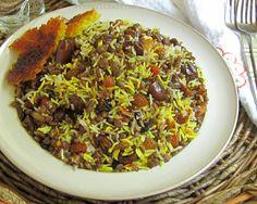 Turmeric and Saffron: Persian rice with lentils (2 tbsp of raisins and 3 dates per person make 2 fruits servings for the day. Adjust recipe quantities if necessary.)
