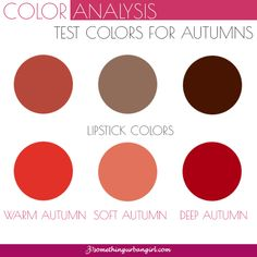 Test colors for Autumn seasonal color women to find your possible seasonal color palette