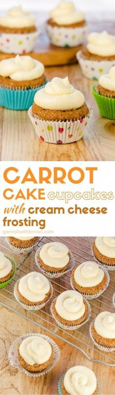 We took a classic recipe and made it into cupcakes! Carrot Cake Cupcakes with Cream Cheese Frosting are a crowd favorite and make a great addition to any dessert bar! Best Dessert Recipes, Cupcake Recipes, Fun Desserts, Sweet Recipes, Baking Recipes, Delicious Desserts, Yummy Food, Lemon Recipes, Bar Recipes