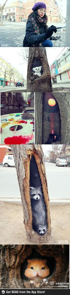 Girl turns tree holes into lovely views with her paint