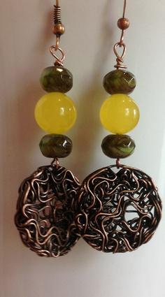 Handcrafted Earrings Handmade Jewelry Copper Wire by GLAMEARRINGS, $22.50