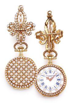 PATEK PHILIPPE A LADY'S 18K YELLOW GOLD ENAMEL, PEARL AND DIAMOND-SET OPEN-FACED PENDANT WATCH 1892 MVT 96409 CASE 209478