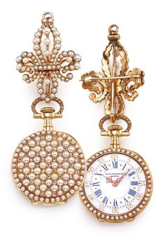 PATEK PHILIPPE A LADY'S 18K YELLOW GOLD ENAMEL, PEARL AND DIAMOND-SET OPEN-FACED PENDANT WATCH 1892 MVT 96409 CASE 209478