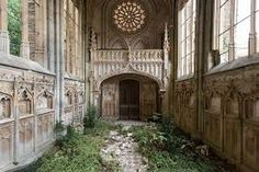 Inside the St-Etienne-le-Vieux Church in Caen, France. Founded in the century, the church was damaged over time due to wars and repaired. In it was hit by a shell aimed at a column of German tanks and it was mostly destroyed. Abandoned ever sinc Abandoned Buildings, Abandoned Mansions, Abandoned Places, Belle Villa, Gothic Architecture, Architecture Quotes, Architecture Interiors, Belle Photo, Parks